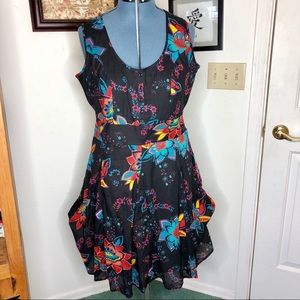 Joe Browns By Simply Be Black Floral Fit N Flare